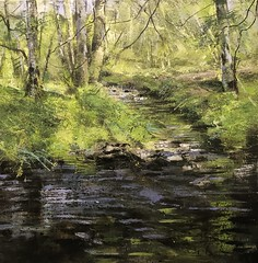 Toward Lower Ground-mixed media on canvas 90 x 90 cm (www.sandragraham.co.uk) Tags: brook stream water nature forest trees worcestershire shropshire art artist artists arte contemporary collector landscape painting oil canvas sandra graham british impasto whisky arran scotland