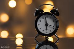 Miniature alarm clock (ThomasMaribo) Tags: yellow alarm lights bokeh blur d7200 105mm nikon flash godox softbox reflection glass