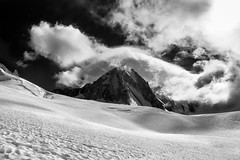 Tour Ronde from Vallee Blanche (shaun walby photography) Tags: tourronde chamonix valleeblanche montblancmassif mountaineering climbing mountainclimbing landscape blackandwhite mountains snow glacier ice rock clouds sunlight shaunwalby shaunwalbyphotography