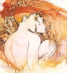 """""""The Kiss"""" (AnnaHannahArt) Tags: kiss love woman man boy girl couple romantic pair valentine marriage wedding erotic art drawing abstract realism watercolour painting gift"""