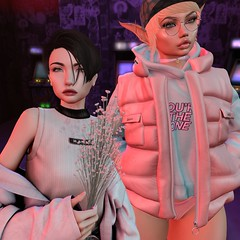 Non-Traditional Date (thestorygiver) Tags: minimal shiny shabby second life sl digital art arcade tram catwa insol gosee bentbox bento amitomo burley mbirdy dirty princess pink fuel lotus date androgynous streetwear street