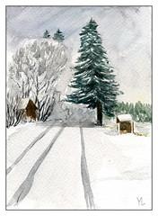 route enneigée (ybipbip) Tags: aquarelle aquarell akvarell watercolor watercolour paint painting pintura paysage landscape