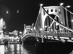 RCB After Dark (TFG Photography) Tags: pirates robertoclementebridge iphone6 blackandwhite night bridge pittsburgh