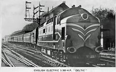 Deltic prototype : Hate and Love (Brit 70013 fan) Tags: deltic diesel locomotive englishelectric rppc eastcoastmainline ecml britishrailways british railways londonnortheasternrailway lner postcard
