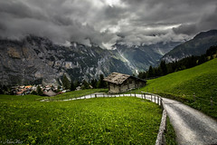storm clouds in the alps. Mürren. switzerland (AlbertMu7) Tags: cielo murren mürren switzerland hierba grass mountains mountain alps swiss things house little paisaje paysage town campo madera landscape