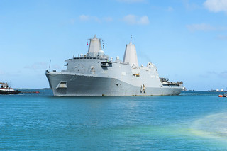 USS San Diego (LPD 22) arrives in Guam for a scheduled port visit.