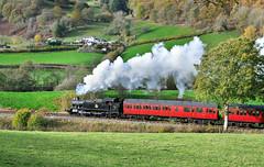 5199 near Garthydwr. (johncheckley) Tags: d90 uksteam tankloco passengertrain railway fields