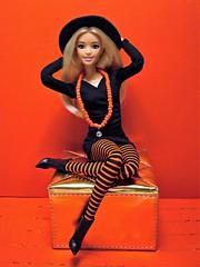 Stripes make you happy! (Deejay Bafaroy) Tags: barbie mattel doll puppe fashionistas petite madetomove mtm blonde blond rocknroll 31 dpx67 dress kleid portrait porträt black schwarz red rot orange stripes streifen striped gestreift hat hut stockings strümpfe
