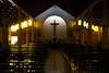 La paz del templo (Gustavo AMJ.) Tags: cross church temple catholic afternoon dark darkness religion pray faith light window shrine city shadow holidays building architecture art style travel urban evening photo photography yungay chile nikon nikond3100