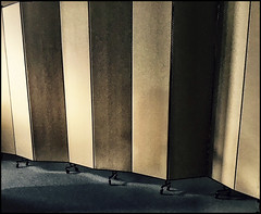 Boundary (Bob R.L. Evans) Tags: ipadphotography lightandshadow composition unusual pattern privacy screen lines abstract symmetry conferenceroom repetition balance