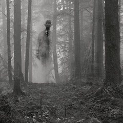 """Passing Through (""""Jimmer"""" ( http://jim-vance.pixels.com )) Tags: figure forest trees surreal misty must path"""