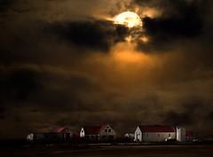 From Iceland. (Tóta. 27.12.1964.) Tags: nature landscape moon houses clouds sky akranes iceland ísland