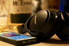 Monday eve relaxation time 57-365 (Wolfgang Sterr) Tags: music headphones bose whiskey