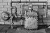 Got Gas (arbyreed) Tags: arbyreed meter naturalgasmeter biggasmeter metal pipes alley thingsseeninalleys monochrome bw blackandwhite vernacularphotography
