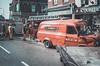 A24 Soho Turntable crashes into shop (Cozy61) Tags: ttl soho a24 london fire brigade rta rtc crash shop firefighter camden 120mm kodak mamiya 6x9 film filmisnotdead ishootfilm shootfilm filmphotography work media resources group press metz c45