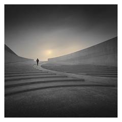 De Brug (Vesa Pihanurmi) Tags: amphitheatre bunker stairs path figure character monochrome belgium architecture sundaylights