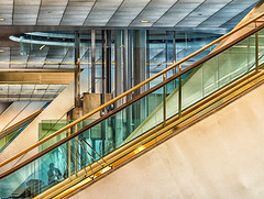 david_lawrence (gerhil) Tags: travel architecture building interior publicspace conventioncenter escalator graphic abstract color light city urban event gathering winter january2018 nikcolorefexpro4 ceiling window lines 1001nights 1001nightsmagiccity