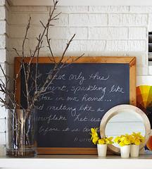 Chalkboard for Quotes (Heath & the B.L.T. boys) Tags: vase sticks chalkboard brick