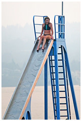 Ready to be Brave (HereInVancouver) Tags: waterslide youngwoman bikini vancouverswestend summer thingstodobythewater englishbay ocean pacific slideonafloatingbarge candid smokey vancouver bc canada canong16 ngc anawesomeshot