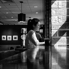 Study Time (daveson47) Tags: people student girl candid bw blackandwhite mono monochrome street streetphoto indoor minneapolis sony sonyrx100 rx100 contrast