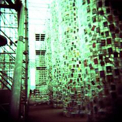 The Parthenon of Books - Marta Minujin (UrbaceousSentiment) Tags: the parthenon books martaminujin der bücher documenta kassel art kunst analog analogue holga kodak ektachrome medium format crossprocessed xpro pushed green grün expired vignetting vignettierung vignette