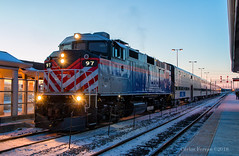 97 at Western Ave. (Wheelnrail) Tags: metra f59ph locomotive railroad rail road emd rails metx chicago western avenue station evening sunset cold heritage corridor union pacific tower a2
