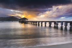 (James Whitlock Photography) Tags: usa hawaii kauai pier jetty hanalei bay storm rain shower sunset cloud cell waves water wind america island life