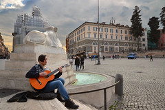 On Piazza del Popolo (Thomas Roland) Tags: square piazza del popolo poppel guitar musician youth monument sun ray atmosphere rome rom roma italia italy italien europe europa travel rejse holiday city by stadt roman tourist tourism destination visitors