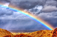 Joshua Tree National Park (aaron_j_o) Tags: joshuatreenationalpark hdr nature clouds colour colors contrast yellow weather texture storm sky road rainbow purple rain plants peace outdoors orange mountain inspiration hill blue desert grass green trees