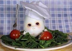 Egg salad (bentwhisker) Tags: doll bjd resin anthro egg soom neoangelregion humptydumpty salad chef toque 2629