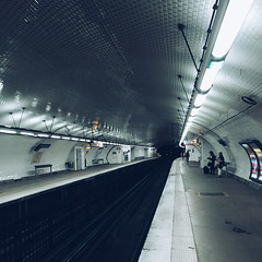 Metro (Olly Denton) Tags: station lights lighting platform railway underground metro subway perspective vanishingpoint transport transit commute travel empty architecture architectureporn architecturelovers architecturephotography architecturalphotography iphone iphone6 6 vsco vscocam vscoparis vscofrance ios apple mac shotoniphone étiennemarcelstation étiennemarcel paris iledefrance france