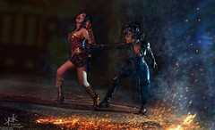Fotocon 2017: Ailiroy as CatWoman vs ClairDeLune Cos. as Wonder Woman, by SpirosK Photography: 3 of 4 (SpirosK photography) Tags: fight fire flames dccomics dc dcuniverse playingwithfire ailiroy ailiroyartsandcrafts clairdelunecosplay clairdelune wonderwoman catwoman comics cosplay costumeplay fotocon fotocon2017 fotoconbytechland spiroskphotography photoshoot composite portrait action smoke