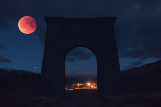 In-camera double exposure: Super Blue Blood Moon at Roosevelt Arch