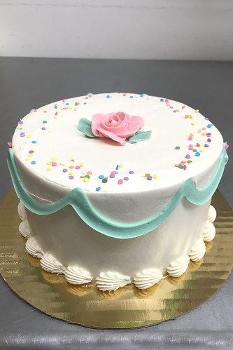Birthday Rose Swag Buttercream Cake