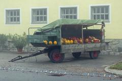 Misty morning (verblickt) Tags: austria aut village farmland foggy misty outdoor pumpkins trailer