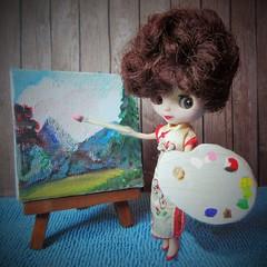 BaD 7 February 2018: POP! (jefalump) Tags: takara petiteblythe shanghaiseason bobross paintthesky painting palette portrait flickrfriday atsh clouds