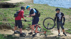 Yet Another Puncture! (kate willmer) Tags: people bike bicycle biking wheels tyres helmet trail coast andalucia spain mountainbike mountainbiking