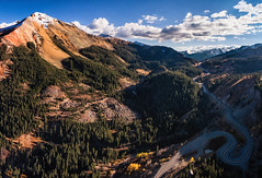 The Road to Winter (OuraybyFlight) Tags: aerial highway550 milliondollarhighway ouray redmountain redmountainpass road roadtrip southwestregion switchbacks ridgway colorado unitedstates us