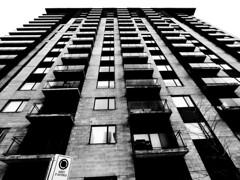 Rue Saint-Jacques (MassiveKontent) Tags: noiretblanc blackwhite montreal bw city monochrome urban blackandwhite streetphoto montréal building quebec streetphotography bwphotography streetshot gopro architecture geometric lines symmetry sky window