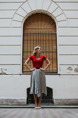 walking in Budapest (Maria Nenenko) Tags: idea concept conceptual marinino marininoart fineart art portrait city budapest hungary woman girl model beauty best red vivid colors style mood conceptphotos