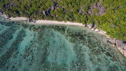 Anse Source d'Argent Luftbild, La Digue Seychellen