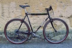 A bicycle against a wall. Nara. Japan. (kinkicycle.com) Tags: surly crosscheck custom custombike somafab veloorange sdg shimano xt nukeproof atb 700c nitto huntercycles huntersmoothmove sram baaw nara japan