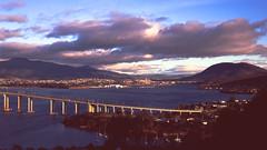 Hobart Bridge sunrise (robertadams11) Tags: 4x5 schneider 150mm fuji velvia 100 mpp mk8 tasmania hobart bridge