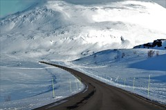 the road is long (GJS PHOTOGRAPHY) Tags: nature natural geographic wilderness snow weather road trip nothing long travel photographer photography canon 7d dreams lifetime stunning experience geology mountains range sweden swedish mile marker