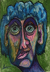 Face (Durley Beachbum) Tags: odc face oilpastels doodle drawing