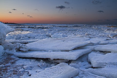 """Giant """"Shards"""" of Ice (brucetopher) Tags: ice iceberg icy cold winter frozen freezing freeze estuary beach saltwater sea ocean bay sunset white snow seaice iceflow river creek brook water afterglow evening twilight glow"""