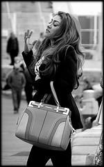 Oh, no! (* RICHARD M (7+ MILLION VIEWS)) Tags: candid street portraits portraiture streetportraits streetportraiture candidportraits candidportraiture mono blackwhite glamour glamorous glamourgirls glam brunette headturner beauty prettygirls handbags noseintheair liverpool merseyside designerhandbags goodhair humour