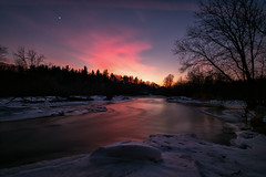 Promise of a new dawn (JD~PHOTOGRAPHY) Tags: sunset bluehour pink skies creditriver serene serenelandscape conservationarea riverwoodconservancy landscape riverlandscape winter nature canon canon6d