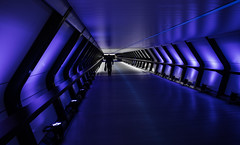 Blue tunnel (Jonathan Vowles) Tags: lumiere adams plaza canary wharf london blue lights tunnel