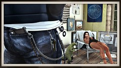 Lazy Sunday (evangeline.damiano) Tags: secondlife sims sexy sucking smoke lazy home girlswithtatts wallet chains leather jacket marketplace
